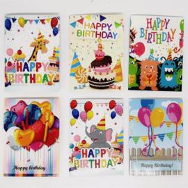 Set van 6 Verjaardagskaarten