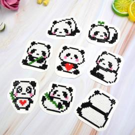 set met 8 panda stickers