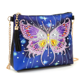 Tasje met draagketting - Vlinder op blauwe achtergrond