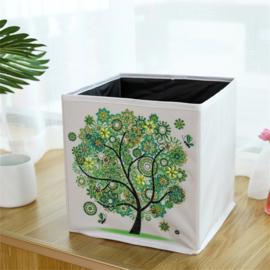 Stoffen opbergbak - groene boom