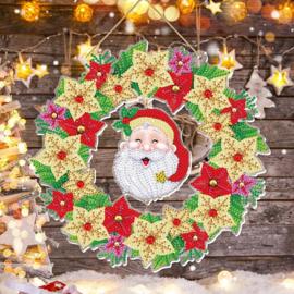 Wreath met lichtjes - lachende Kerstman
