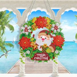 Wreath met lichtjes - Kerstman merry Christmas