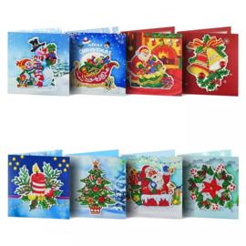 Set van 8 Kerstkaarten met reliëf
