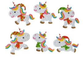 set met 6 Kerst Eenhoorn stickers