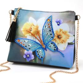 Tasje met draagketting - Vlinder en witte bloem