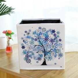 Stoffen opbergbak - blauwe boom