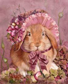 Bunny In Easter Bonnet - Artwork by Carol Cavalaris - 40 x 50 cm