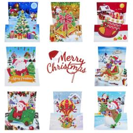 Set van 8 Kerstkaarten - geplooid