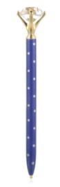 Blauwe pen met stippen en diamand