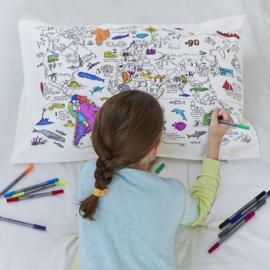 Kleur & leer kussensloop - wereld
