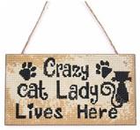 Houten bordje - Crazy cat Lady