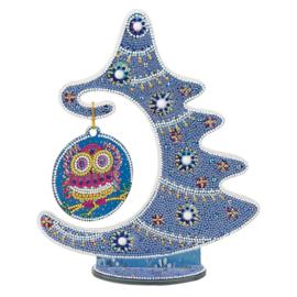 Tafel decoratie - Kerstboom met blauwe tinten