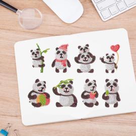 set met 8 Panda beren