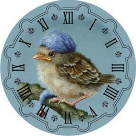 Klok met vogeltje