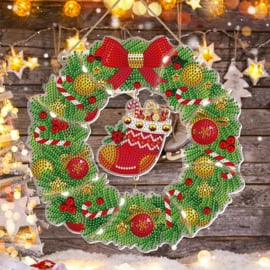 Wreath met lichtjes - kerstsok