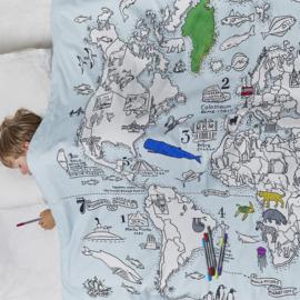 Kleur & leer dekbed overtrek -  wereld