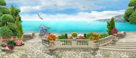 Mooi panorama met zicht op zee - 70 x 30 cm
