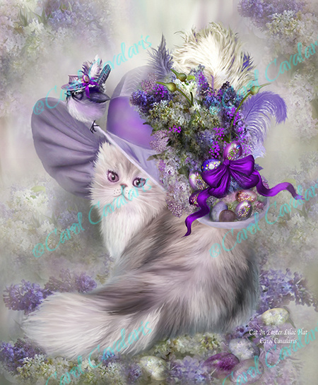 Cat In Easter Lilac Hat - Artwork by Carol Cavalaris