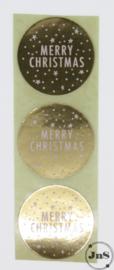 Kerst Sticker - Merry Christmas - Goud folie 3,5 cm - per 10