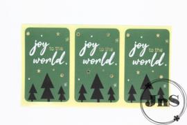 Wensetiket rechthoek 35x58mm - Joy to the World- per 10