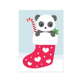 Kerstkaart - Panda in sok