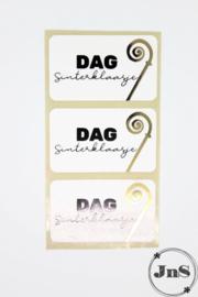 Cadeaustickers  rechthoek 35x58mm - Dag Sinterklaasje /Staf- per 10