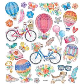 Stickervel - Fietsen en luchtballonnen