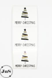 Cadeau Sticker - Kerstboom - Zwart/Zilver/Goud - per 10