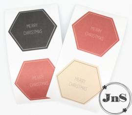 X-mas Stickers - Multi color Text - 5,5 cm -per 12