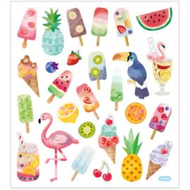 Stickervel - Ijsjes en flamingo's
