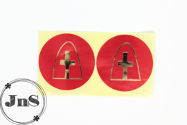 Cadeaustickers  - Sinterklaas Mijter - Rood Goud Folie - per 10 st.
