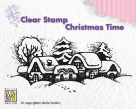 Nellies Choice Clearstempel - Christmas time Snowy village CT009