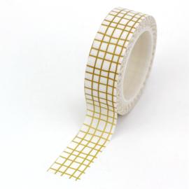 Washi Tape - Wit met bruine ruitjes