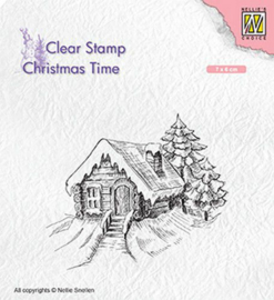 Nellies Choice Clearstempel - Christmas time Cosily snowy cottage CT030 70x60mm