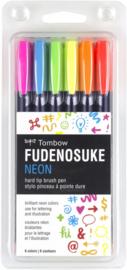 Tombow Fudenosuke Neon Brush Pen Set, 6 st