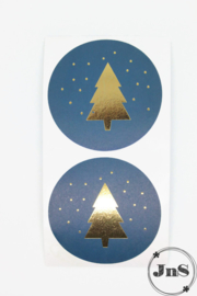 X-mas stickers - Christmas tree  - Petrol Gold - 5,5 cm - per 10