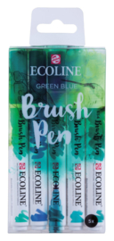 Ecoline Brushpen set 5 - Green Blue
