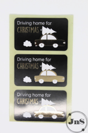 Wensetiket rechthoek 35x58mm - Driving Home for Christmas- per 10