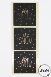 Wensetiket vierkant 40x40mm - Let It Snow - per 10