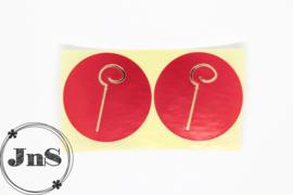 Cadeaustickers  - Sinterklaas Staf- Rood  Goud Folie - per 10 st.