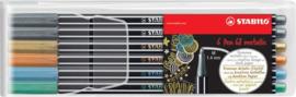 Stabilo Pen 68 Metallic Viltstiften -  Etui 6 kleuren