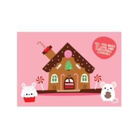 Kerstkaart - Gingerbread huisje