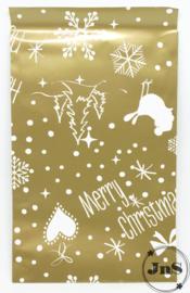 Kerst Cadeauzakjes - Merry Christmas Goud - 12x19cm per 5