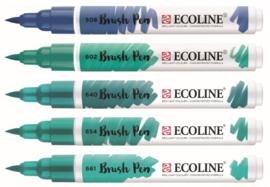 Ecoline Brushpen set 5 - Green Blue
