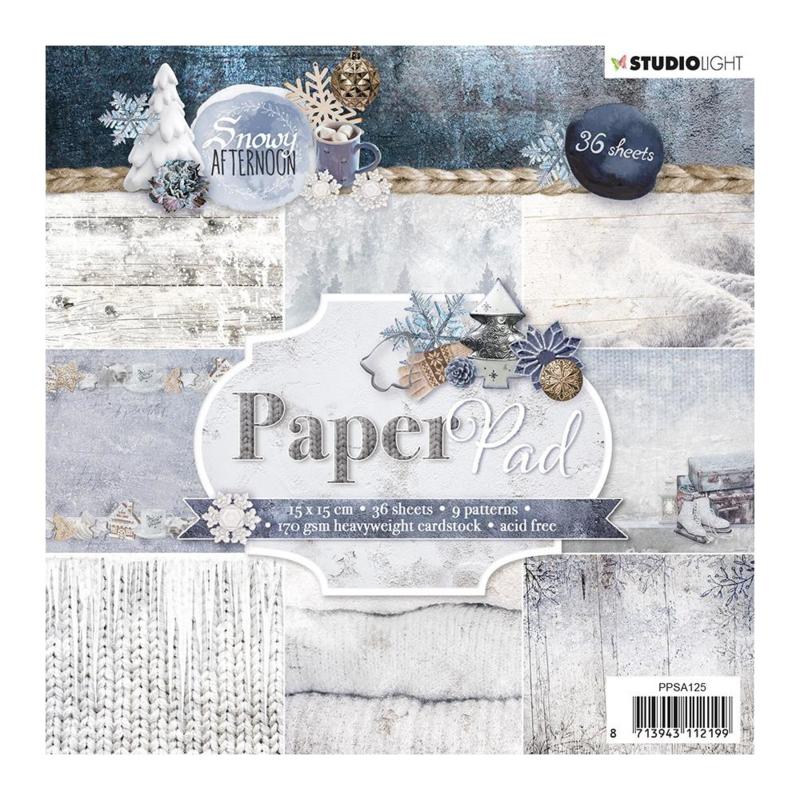 Studio Light Paper pad 36 vel Snowy Afternoon nr.125 15x15cm