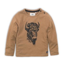 Jongens shirt camel met print - Koko Noko