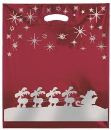 Weihnachtstragetasche aus LD-PE-Folie mit Griffloch - Format 38x45+5 cm