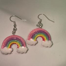Oorbellen regenboog cloud roze
