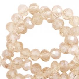 Top Facet kralen 8x6 mm disc Champagne-pearl shine coating