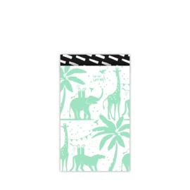 Cadeauzakjes Tropical Party Mint - Zwart, 12x19cm, 5 stuks